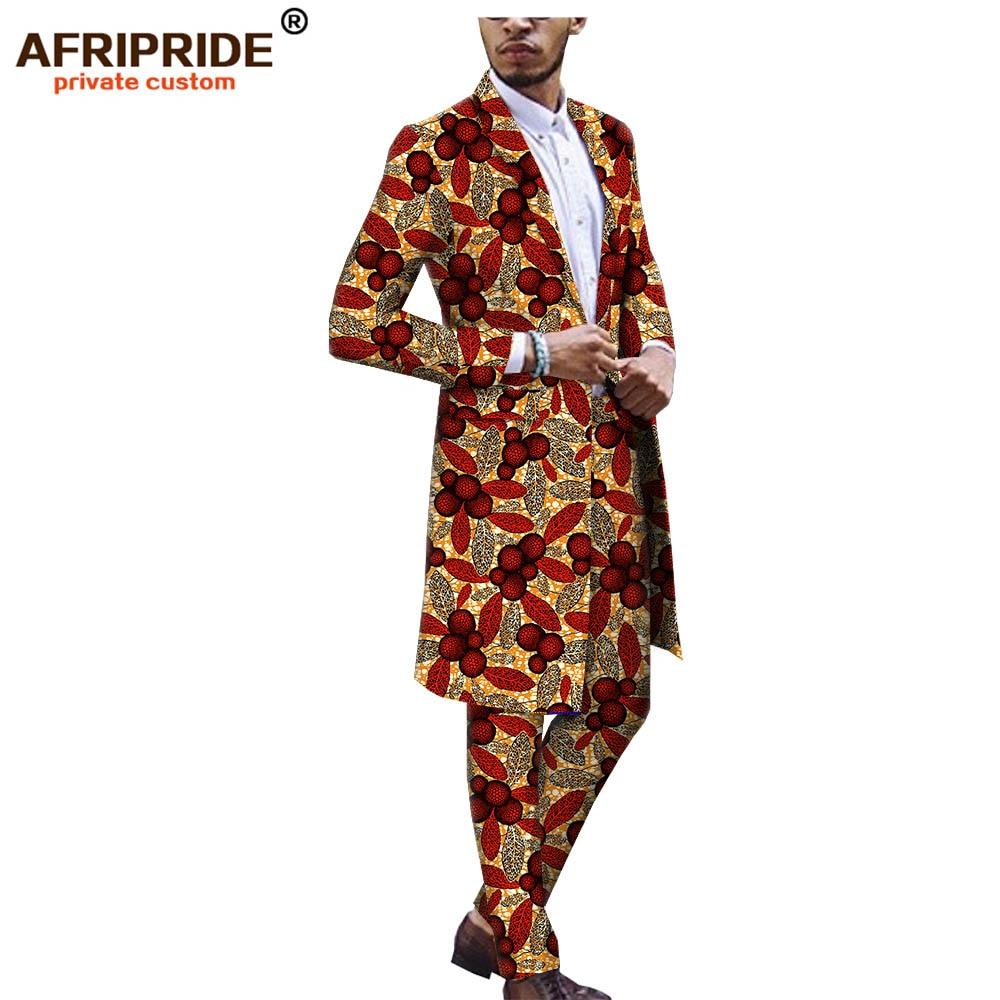 2019 African Ankara Dashiki Suit For Men AFRIPRIDE Tailor Made Bazin Richi Single Button Long Jacket+full Length Pants A1816012