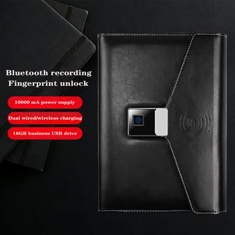 A5 Password Book Multi-Function Fingerprint Lock Notebook Bluetooth Recording Wireless Charging U Disk Business Gift Box Office
