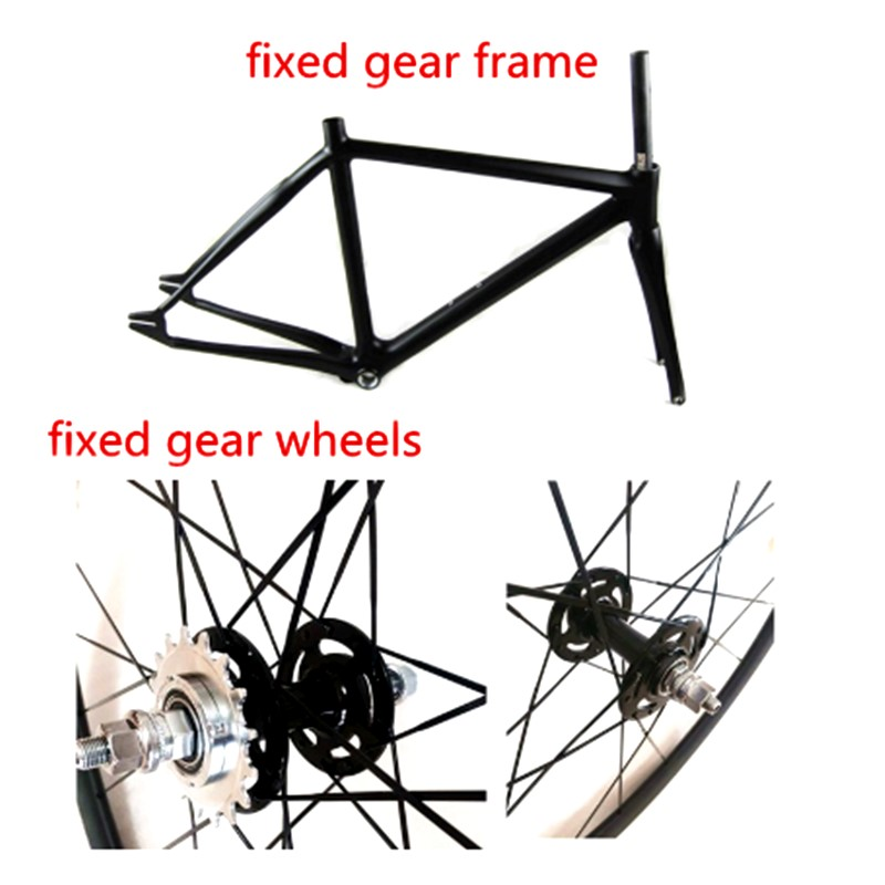 700C track bikes <font><b>frame</b></font> fixed gear bicychle wheels and fork <font><b>set</b></font> carbon fixed gear <font><b>frame</b></font> and fixed gear wheels free shipping image