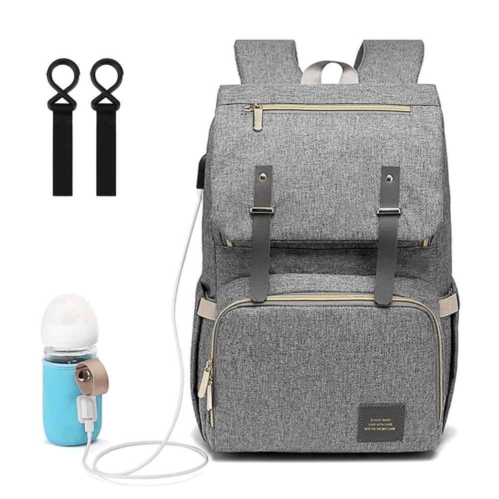 Bolso de maternidad para mamá bolsa de pañales mochila para bebé impermeable hombros de viaje con calentador de botella USB y ganchos colgantes para cochecito