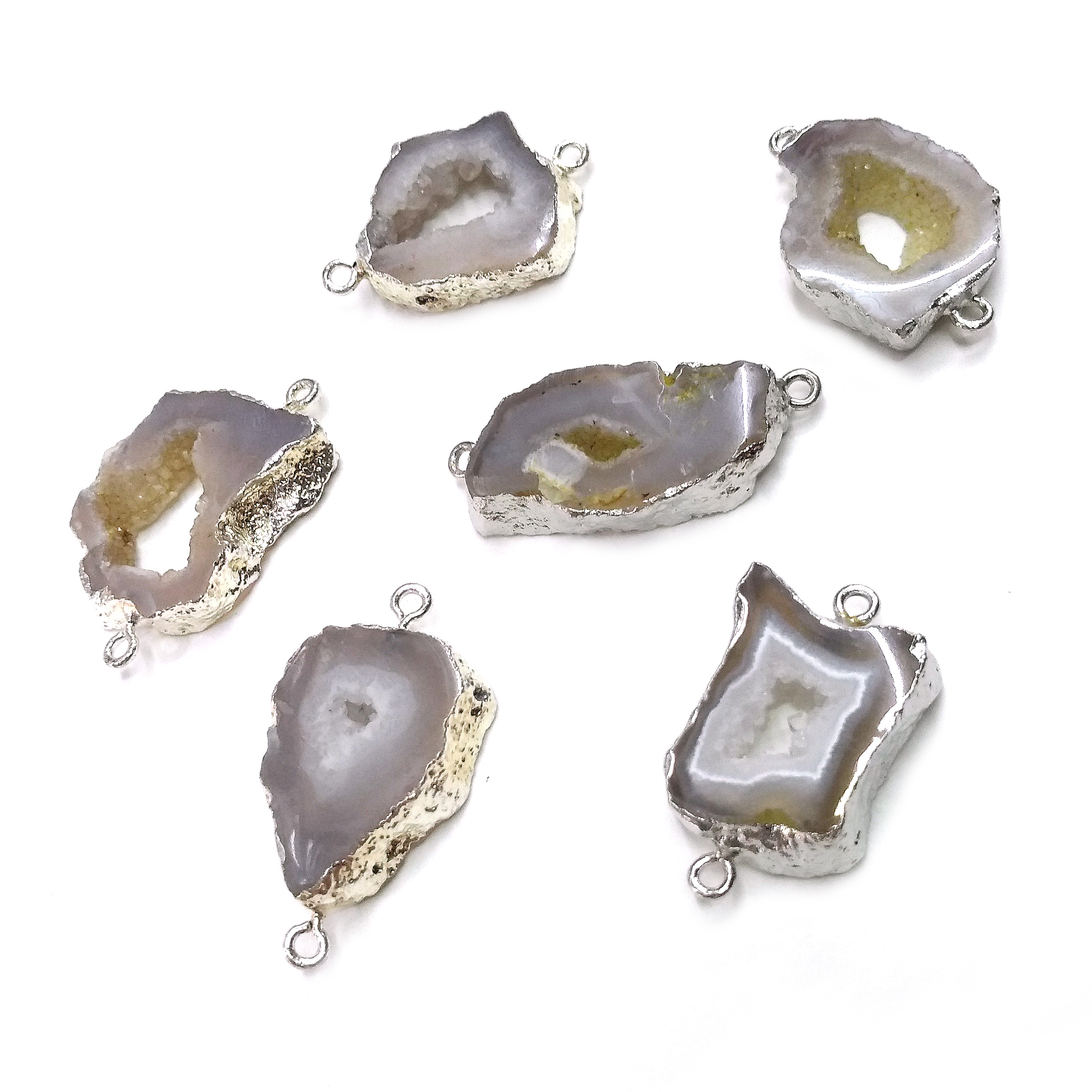 Natural Stone Slice Agates Pendants Irregular Shape Double Hole Connector For Jewelry Making DIY Necklace Bracelet Accessories