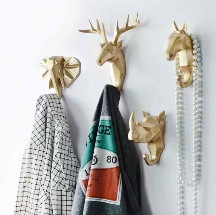 LCH Modern avrupa tarzı yaratıcı reçine hayvan sanat geometrik klip bez kanca tuşları tutucu kapı topuzu çekme giysi askısı