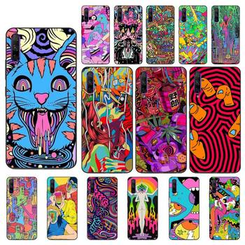 YNDFCNB Colourful Psychedelic Trippy Art Soft Black Phone Case for Huawei Y5 II Y6 II Y5 Y6 Y7 Prime Y7Plus Y9 2018 2019 image