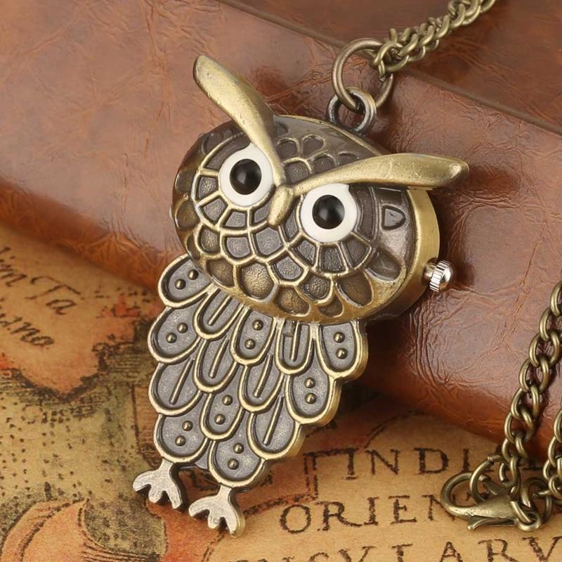 Bronze Lovely Owl Shape Quartz Pocket Watch Little Size Pendant Necklace Clock Fob Sweater Chain Gifts For Boys Girls Children