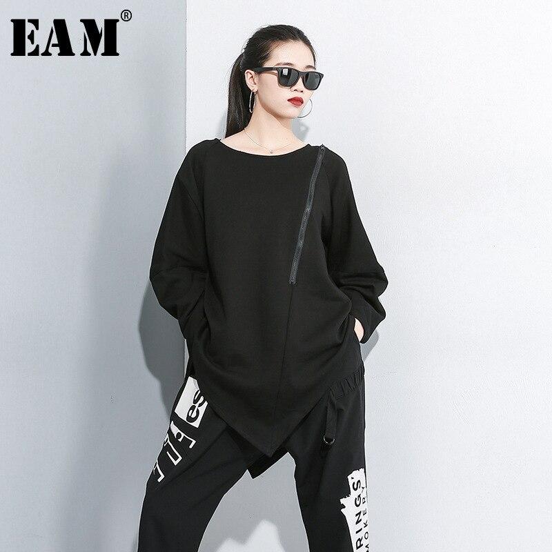 [EAM] Women Blakc Zipper Asymmetrical Hemline Big Size T-shirt New Round Neck Long Sleeve Fashion Tide  Spring Autumn 2020 JZ488