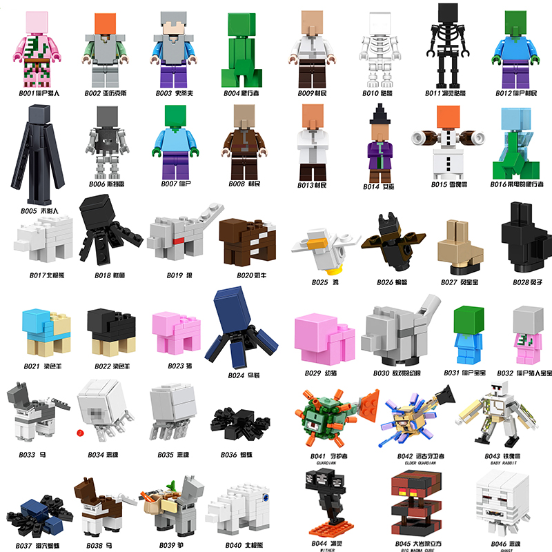 46pcs My DIY Bricks Mini Mine Craftedly Building Blocks Game Figures Bricks For Children World Toys X0127