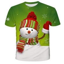 2020 Cartoon Christmas Snowman Print Children T-shirts Kids Anime Summer Hot Sale Funny Tees Boys/Girls Tops Baby Clothing