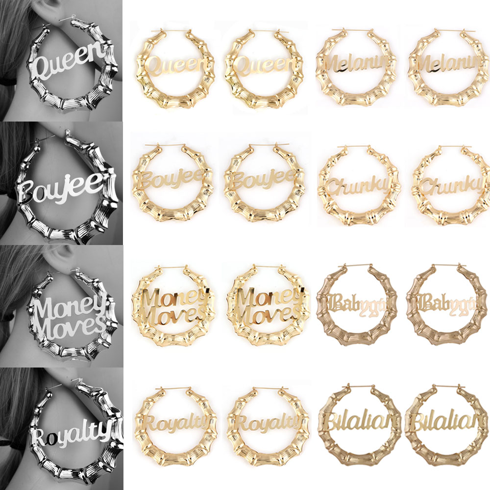 MLING 8 Style Vintage Gold Silver Earrings Fashion Hollow Letter Bamboo Hoop Earrings For Women