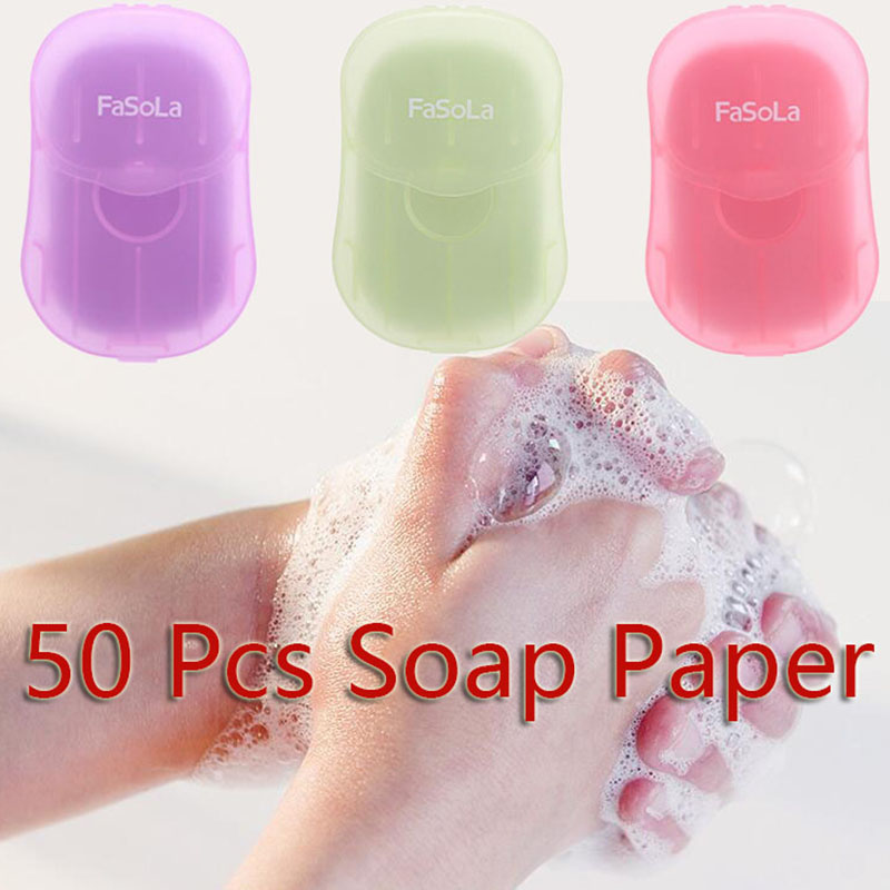 50Pcs/Box Travel Washing Hand Bath Soap Paper Scented Slice Sheets Foaming Soap For Travel Outdoor Activity