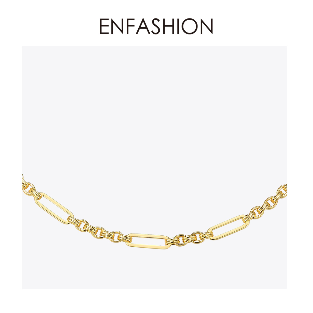 Image 3 - ENFASHION Long Link Chain Choker Necklace Women Gold Color Statement Necklace Lady Fashion Femme Jewelry Dropshipping P193059Chain Necklaces   -