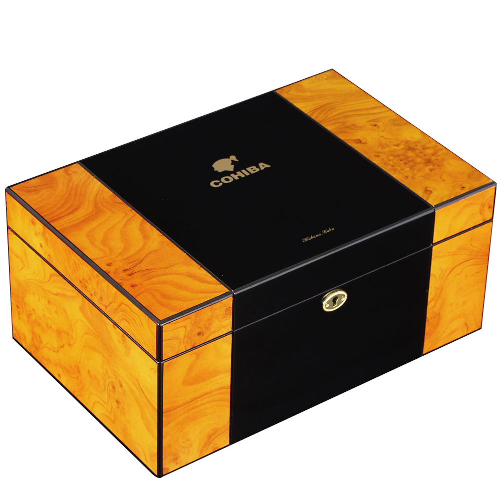 COHIBA Brand New Cigar Humidor Box Home Cedar Wood Luxury Glossy Large Storage Cigar Box With Key Hygrometer Humidifier image