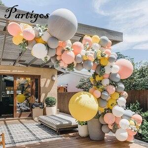 """Image 1 - 130Pcs Macaron Ballon Boog Guirlande 10 """" 36"""" Grijs Geel Ballon Met Kunstmatige Blad Voor Bruiloft Verjaardag evenement Partij Decoratie"""