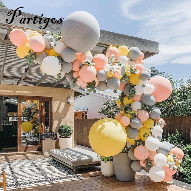 """130Pcs Macaron Ballon Boog Guirlande 10 """" 36"""" Grijs Geel Ballon Met Kunstmatige Blad Voor Bruiloft Verjaardag evenement Partij Decoratie"""
