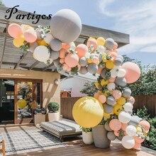 """130pcs Macaron Arco Balão Guirlanda 10 """" 36"""" Cinza Amarelo Balão Com Folhas Artificiais Para O Aniversário de Casamento decoração Do Partido Do evento"""