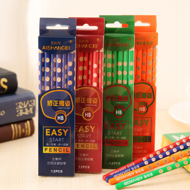 4Pcs HB Kawaii Wooden Lead Pencils Creative Hole Pencil For Kid Gifts School Office Supplies Novelty Stationery Correction Tools