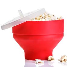 Neue Silikon Popcorn Mikrowelle Silikon Faltbare Rot Hohe Qualität Küche Easy Tools DIY Popcorn Eimer Schüssel Maker Mit Deckel cheap CN (Herkunft) Other Silicone Bowl Auf Lager Umweltfreundlich Fest Silicone Popcorn Bowl about 200*200*155mm 7 87*7 87*6 10in