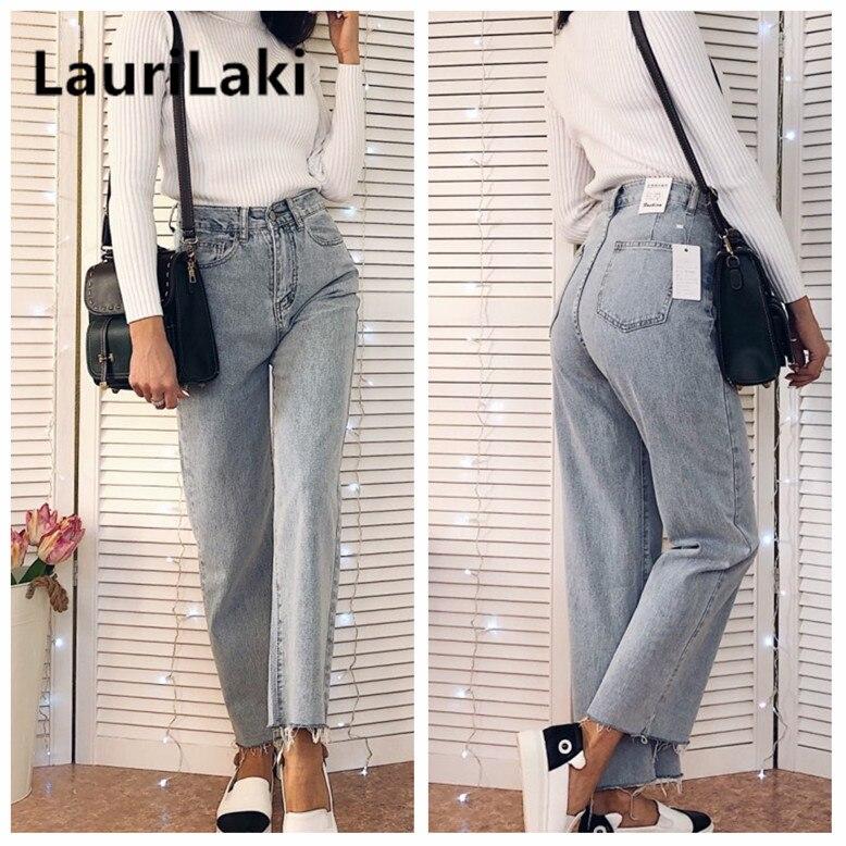 Wide Leg Jeans Women High Waist Wide Leg Jeans Plus Size Vintage Retro Straight Boyfriend Jeans Spring Autumn 2019 Denim Pants