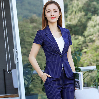 New 2020 Summer Women Formal Pant Suits Short Sleeve Blazer and Pants Office Ladies Business Work Wear Suits Set 2 Pieces OL Top sky blue female suits pants women business elegant autumn blazer and trousers pants suit set office formal ol work wear 2 pieces