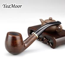 Classic Bent Smoking Pipe 9mm Filter Ebony Wood Pipe Original Wood Grain Tobacco Pipe Smoke Pipe 10 tools free