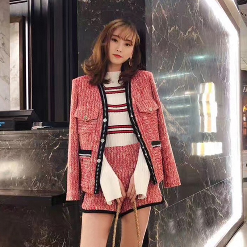 2019 Autumn New Style Small Fragrant Air Suit Elegant and Thick Tweed Short Coat + Shorts Two Pieces Women Jacket Coat