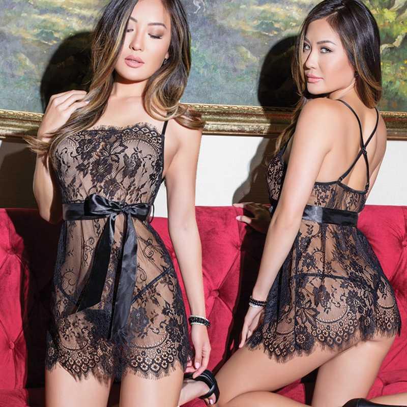 5XL grande taille femmes Sexy Lingerie chaude érotique vêtements Porno dentelle fleur vêtements de nuit sous-vêtements de nuit chemise de nuit Costumes de sexe
