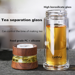 Image 2 - Flacon deau Portable à Double paroi, 300ml/400ml, infuseur de thé en verre, avec filtre et couvercle, tasse de voiture, cadeau créatif