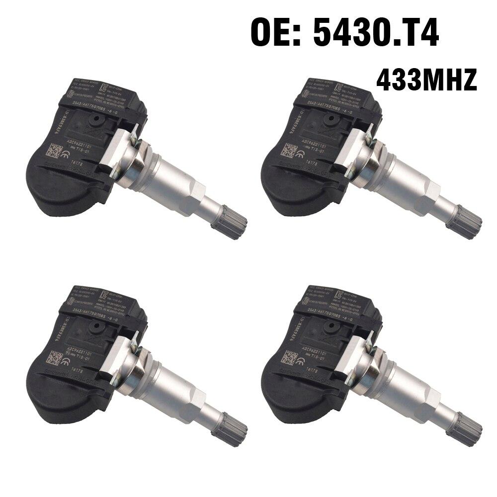 4pcs TPMS Tire Pressure Monitor System 433 MHZ Sensor For Citroen C5 c4 c6 c8 For Peugeot 508 607 807