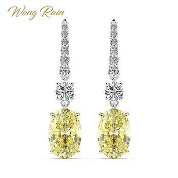 Wong Rain Luxury 100% 925 Sterling Silver 7 CT Created Moissanite Citrine Gemstone Drop Dangle Earrings Fine Jewelry Wholesale