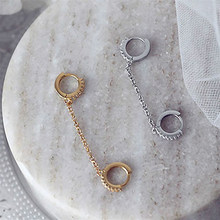 2021 Hot Sale Two Hole Piercing Earrings for Women Brilliant Crystal Zircon Metal Color Chain Earring Party Jewelry