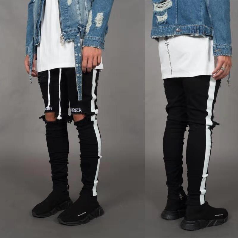 2020 Summer New Style Side Stripe Jean Men Fashion Skinny Mid-waist Stretch Denim Pencil Pants Ripped Haulage Motor Slim Jeans