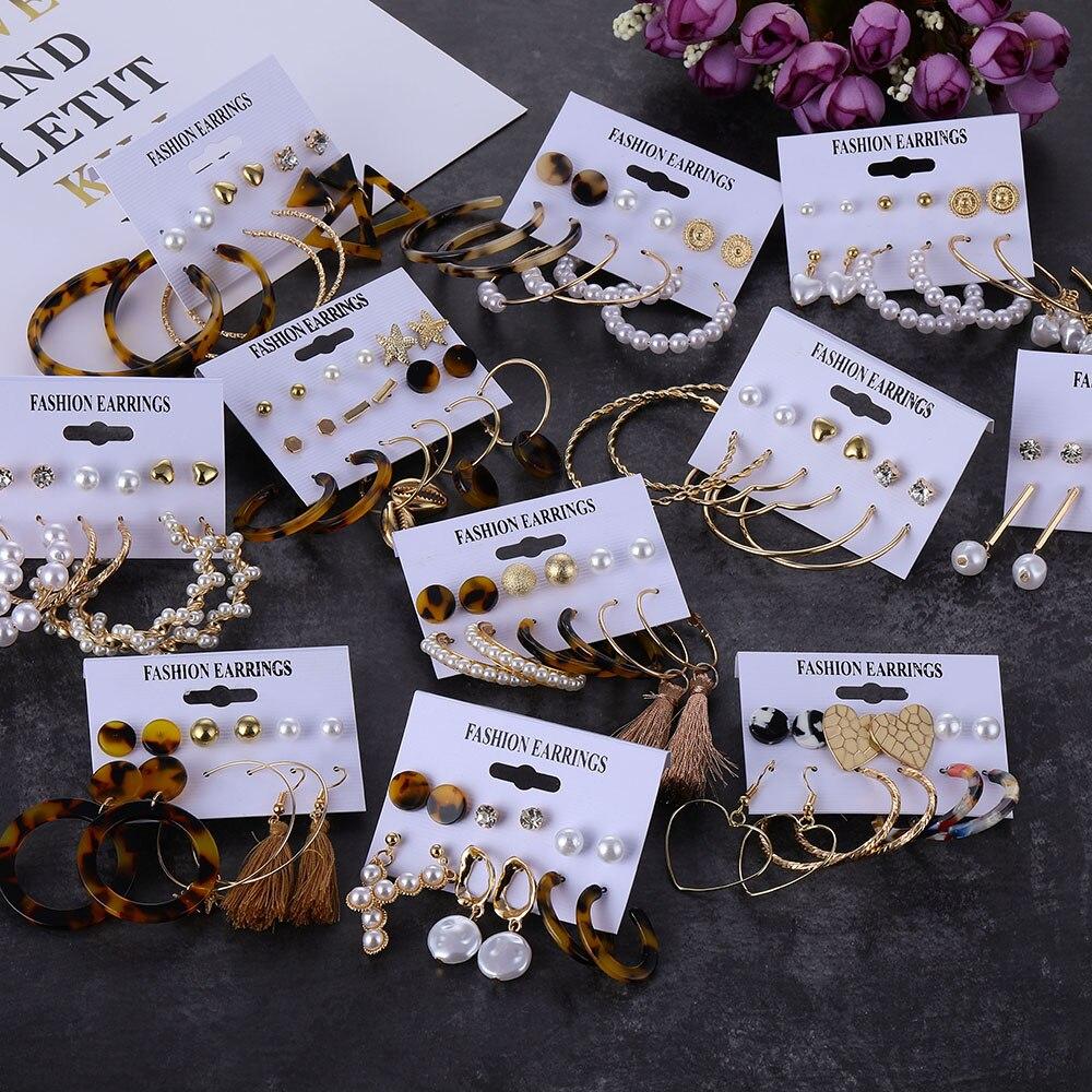 ZOVOLI Boho Leopard Acrylic Pearl Dangle Earrings Set For Women Gold Hoops Big Geometric Drop Earings Fashion Jewelry 2020