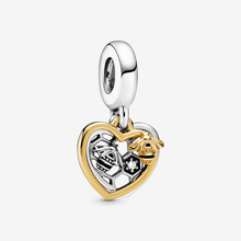 JrSr 2020 Spring New 925 Sterling Silver Beads Hearts & Bees Dangle Charms fit Original Pandora Bracelet Women DIY Jewelry gifts jrsr new 100% 925 sterling silver beads pink pave peach blossom flower dangle charms fit pandora bracelet women diy jewelry gift