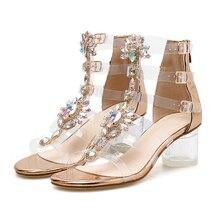 Fashion Rhinestone sandals women 2018 Bohemia Roman style Buckle Strap Crystal I