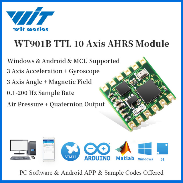Witmotion WT901B 10 As Ahrs Imu Sensor Accelerometer + Gyroscoop + Hoek + Magnetometer + Barometer MPU9250 Op Pc/android/Mcu