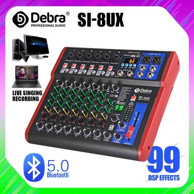 Debra Pro 8 canal DJ regulada con 99DSP Efecto Reverb Bluetooth 5,0 USB de karaoke USB para PC micrófono grabación condensador
