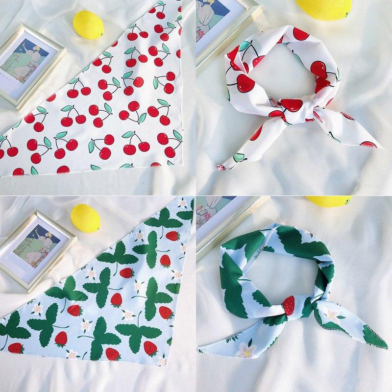 Women Fashion Hair Tie Band Decorative Chiffon Head Wrap Stripe Cute Cherry Avocado Kerchief Neck Elegant Triangle Scarf 33x85cm