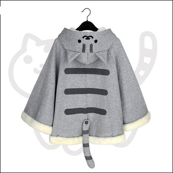 Women Cape Harajuku Hoodie Cloak Kawaii Japan Game Neko Atsume Cat Female Ponchos Cape Girls Outwear With Tail 2020 1
