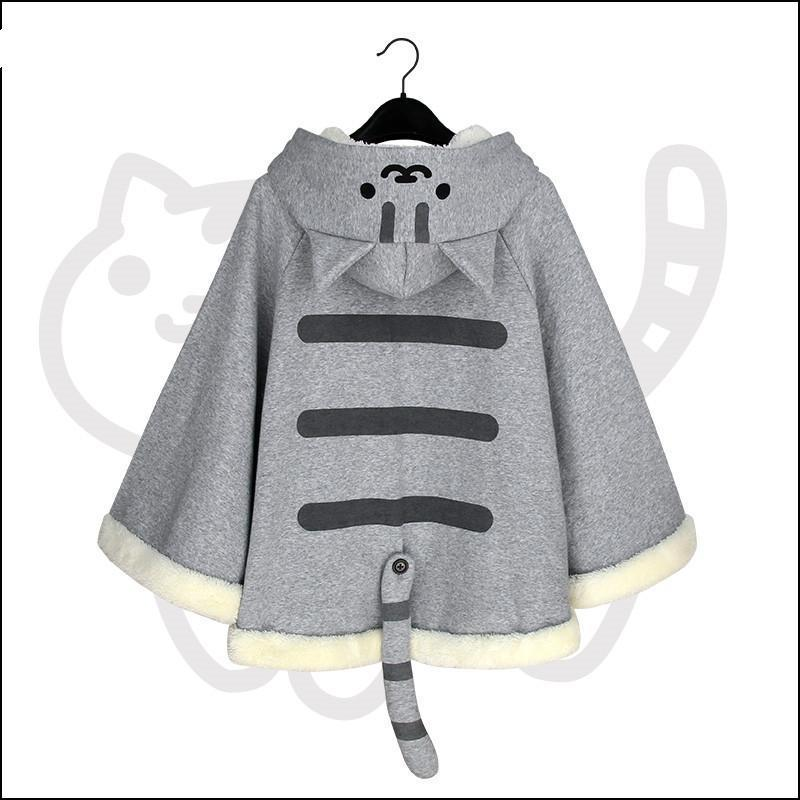WXCTEAM Women Cape Harajuku Hoodie Cloak Kawaii Japan Game Neko Atsume Cat Female Ponchos Cape Girls Outwear With Tail 2020