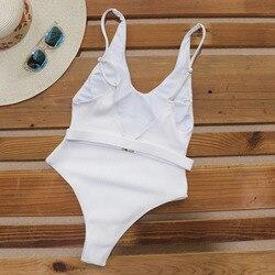 Одноцветный купальный костюм с бретельками, модель 2020 года, сексуальный купальник для женщин, с поясом, с высокой посадкой, пляжная одежда, u-... 6