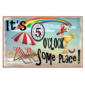 It's 5 O'Clock Somewhere Art Poster Beer O'Clock Metal Tin Signs Pub Bar Decoration Man Cave Wall Stickers Home Decor N352(China)