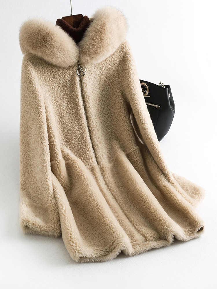 Bontjas Echte Vrouwelijke Schapen Shearling Jas Winter Jas Vrouwen Kleding 2020 Vos Bontkraag Wollen Jassen Manteau Femme Mijn S