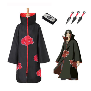 Hot Sale Anime Naruto Akatsuki /Uchiha Itachi Cosplay Halloween Christmas Party Costume Cloak Cape(China)