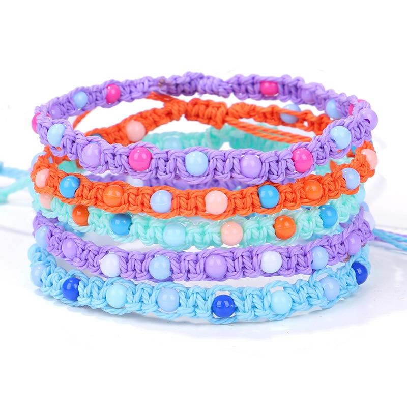Bohemian Colorful Bead Thread Adjustable Bracelet Beach Handmade String Cord Woven Leg Bracelets For Women Men Summer Jewelry