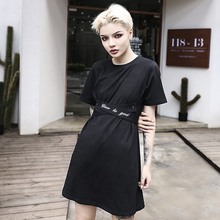 Goocheer Women T-shirt Dress Gothic Punk Black Solid Harajuku Loose Lady Streetwear Belt Slim Mini Cotton