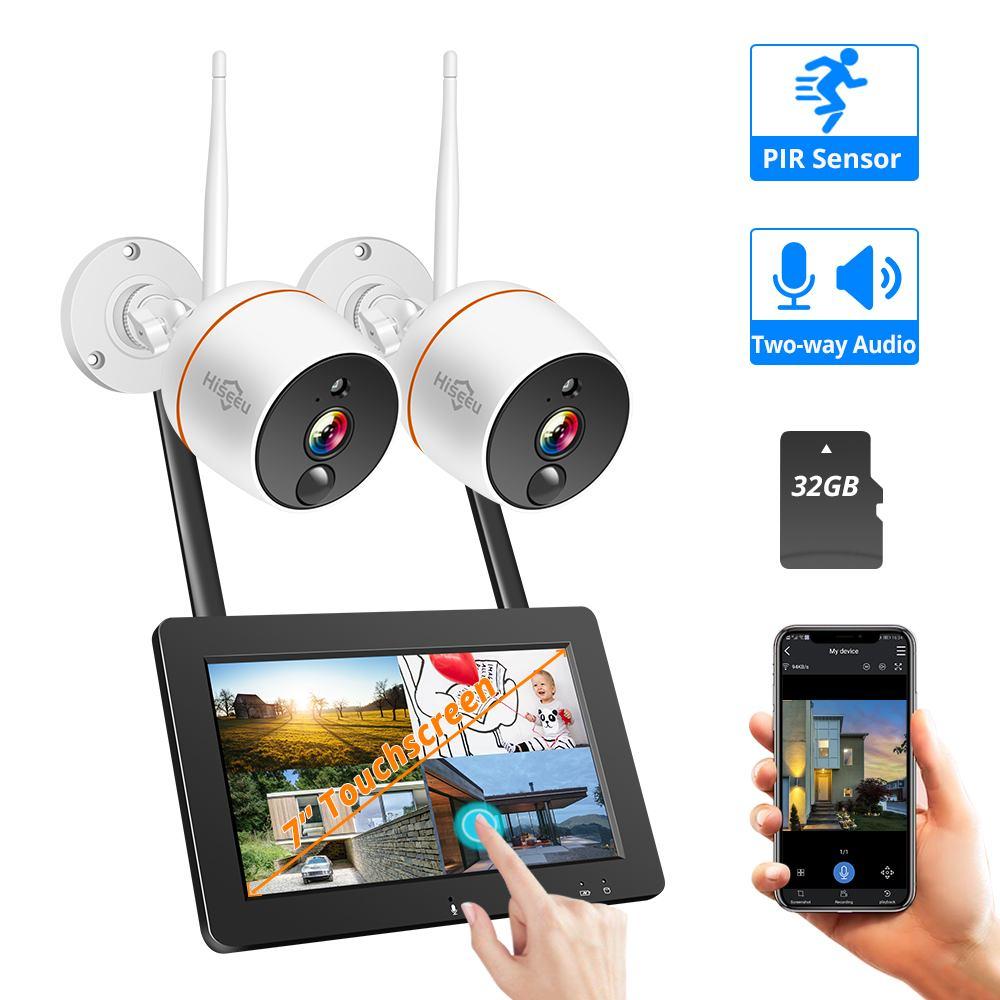 2019 Hiseeu WNKIT-7V-2HB412 Kits de sécurité à domicile 8CH 2MP 1080P Wifi IP caméra réseau sans fil CCTV système de caméra ensemble prise EU