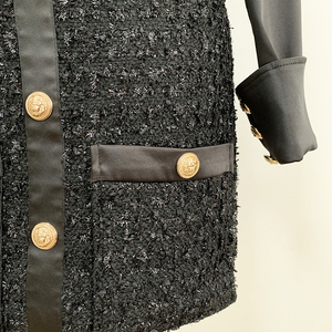Image 5 - HIGH QUALITY New Fashion 2020 Runway Designer Dress Womens Long Sleeve Lion Metal Buttons Tweed Patchwork Dress