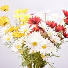 1 branch 5 flowers simulation flower daisy for home decoration DIYwedding outdoor craft garden Valentine's day autumn decoration