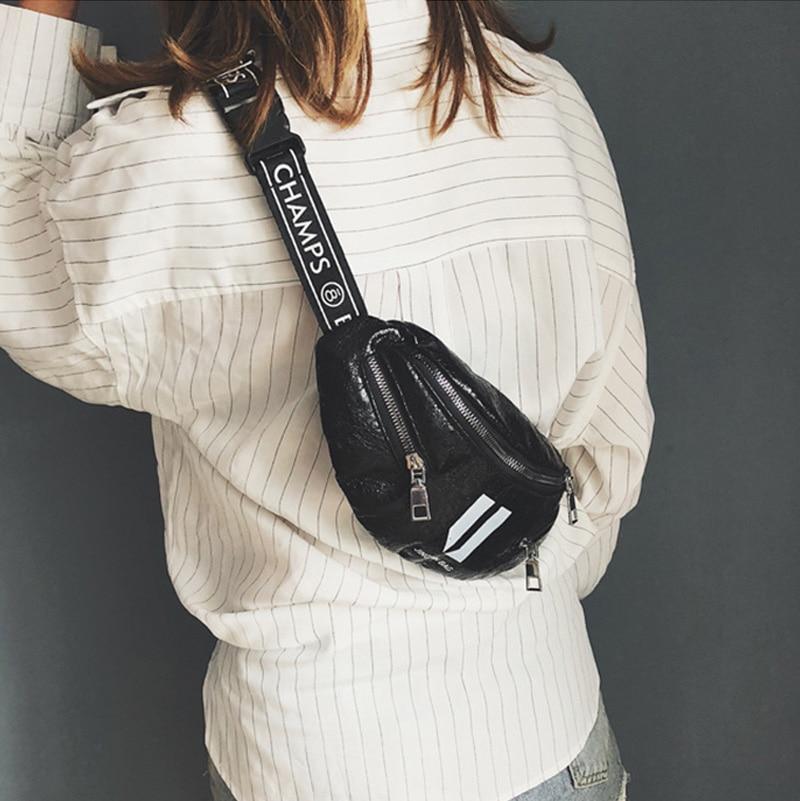 Women's Waist Bag Fashion Letter Fanny Pack PU Leather Chest Bag  Banana Shoulder Messenger Bags Female Waist Belt Bag Hip Purse