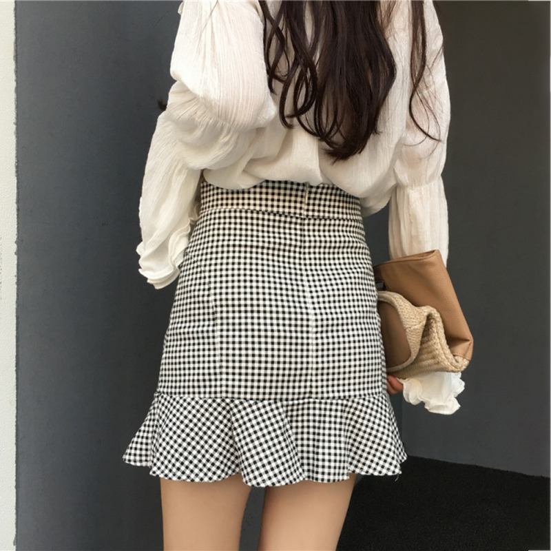 Skirt Spring New Preppy Style Plaid A-line Ruffles High Waist Skirt Women Chic Mini Skirts Female Summer Autumn Skirts