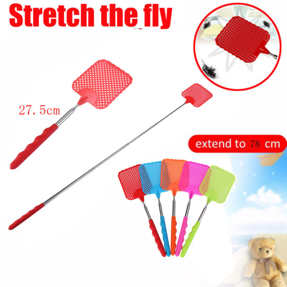 Fly Swatter 1pcs Extendable Fly Swatter Plastic Simple Pattern Fly Swatter Useful Pest Control Tools Retractable Handle Dropship
